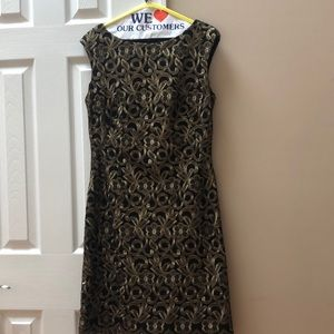 Ralph Lauren Gold Brocade Dress Size 8